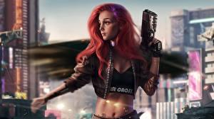 Фото Пистолетом Рыжие Куртке Cyberpunk Фантастика Девушки