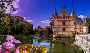 Фотография Пруд Замок Небо Франция Château d'Azay-le-Rideau город