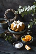 Обои для рабочего стола Кекс Апельсин Сахарная глазурь Доски Еда