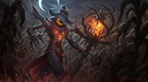 Фотография Тыква Хеллоуин Шляпа Ночные Страшный Посохи Чучело Stu Harrington Фэнтези