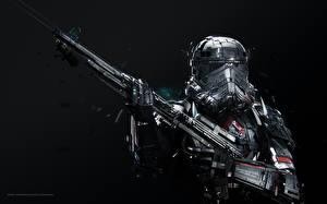 Фото Винтовка Звездные войны В шлеме Adam Spizak, Stormtrooper Фантастика