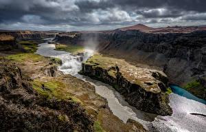 Обои Речка Исландия Пейзаж Облако Каньон Jökulsárgljúfur canyon