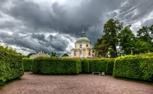 Фото Россия Санкт-Петербург Парки Дворца Кусты Дизайн Oranienbaum Palace Lomonosov Природа