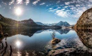 Фото Небо Озеро Гора Австрия Пейзаж Отражении Солнца Styrian Lake, Altaussee Природа