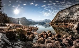 Картинка Небо Камень Гора Озеро Австрия Пейзаж Солнца Styria, Altaussee Природа