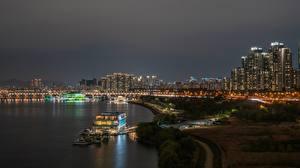Фотография Южная Корея Речка Мост Сеул Ночные Han River город