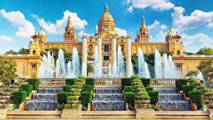 Обои для рабочего стола Испания Фонтаны Барселона Музей National Museum of art of Catalonia Города