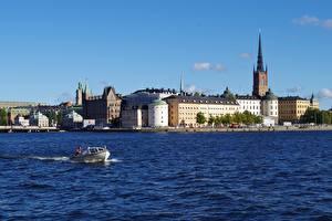 Обои для рабочего стола Стокгольм Швеция Катера Дома Города