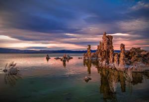 Обои для рабочего стола Рассвет и закат Озеро США Калифорнии Mono Lake Природа