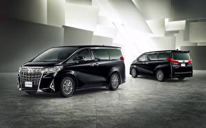 Картинки Toyota Минивэн Двое Черные 2018-19 Alphard Executive Lounge автомобиль
