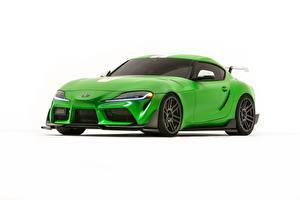 Картинки Тойота Белый фон Зеленый Металлик Supra, 2019, GR Supra, A90, Wasabi Concept авто
