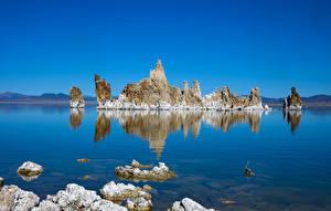 Обои США Озеро Калифорния Скале Mono Lake Tufa State Natural Reserve Природа
