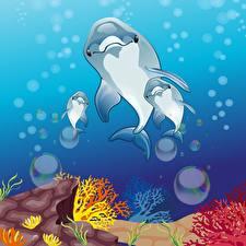 Обои Подводный мир Дельфины Векторная графика Спорт картинки