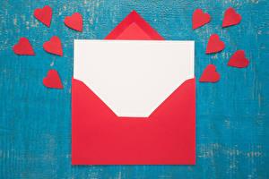 Обои День святого Валентина Шаблон поздравительной открытки Сердце Красных Лист бумаги Письмо Конверт