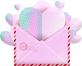 Фотографии День святого Валентина Белый фон Сердечко Письмо Конверт