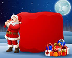 Картинки Векторная графика Рождество Дед Мороз Подарки Униформа Луны