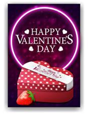 Фотографии Векторная графика День всех влюблённых Клубника Английский Слово - Надпись Подарки Сердце
