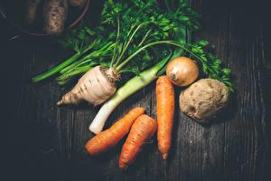 Фотография Овощи Морковь Лук репчатый Доски Еда