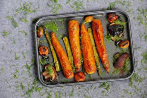 Картинки Овощи Грибы Морковка Укроп Спаржа Пища
