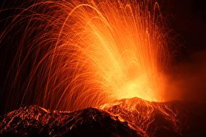 Фотография Вулкана Лавой Ночные Природа