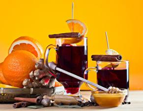 Обои для рабочего стола Вино Апельсин Корица Мед Имбирь Кружка Mulled wine Еда