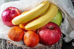 Картинки Яблоки Бананы Мандарины Капли