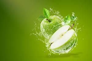 Обои Яблоки Цветной фон С брызгами