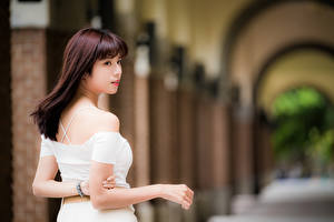 Картинка Азиатка Боке Сзади Руки Шатенка молодые женщины
