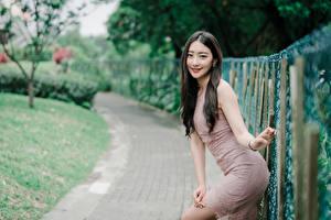 Фотография Азиатки Боке Позирует Рука Брюнетки Смотрит Ограда девушка