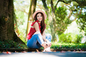 Картинка Азиатки Размытый фон Сидящие Джинсы Блузка Шляпы Шатенка Милый Девушки