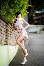 Картинки Азиаты Поза Туфлях Ноги Платья Брюнетка Девушки