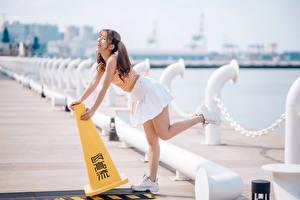 Картинка Азиатки Набережной Размытый фон Позирует Юбки Ноги Шатенка Смеется молодые женщины