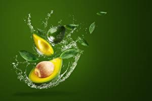 Картинки Авокадо Цветной фон С брызгами Продукты питания