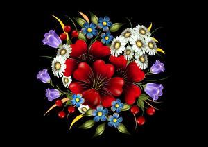 Картинки Букет Рисованные На черном фоне цветок