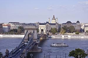 Обои для рабочего стола Мост Речка Речные суда Будапешт Венгрия город