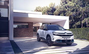 Картинки Ситроен Белая Гибридный автомобиль CUV 2020 C5 Aircross SUV Hybrid Worldwide авто