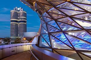 Фотография Вечер Здания Мюнхен Германия Бавария Bmw Welt город