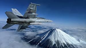 Картинка Самолеты Истребители Горы Летящий Super Hornet, F/A-18F, U.S. 7th Fleet