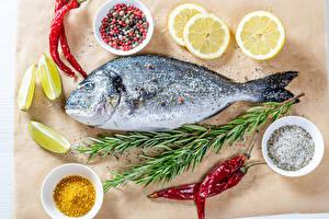 Фото Рыба Специи Острый перец чили Лимоны Солью