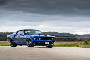 Картинки Ford Синие Mustang 1969 Mach 1, By RingBrothers машины