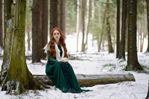 Обои для рабочего стола Лес Снега Дерево Сидящие Платья Рыжие Смотрит Anna Zhu, Kirill Sokolov Природа Девушки