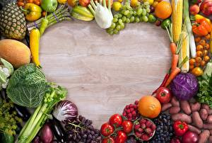 Фото Фрукты Овощи Сердца Шаблон поздравительной открытки Продукты питания