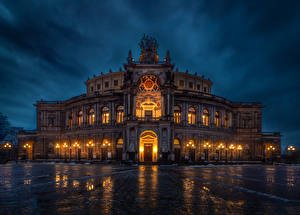 Фотография Германия Дрезден Дома Вечер Дизайн Уличные фонари Semperoper Города