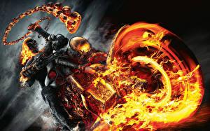 Фото Призрачный гонщик Пламя Скелеты Цепи Мотоциклист Колеса кино Фэнтези