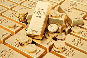 Фотографии Золото Монеты Слитки 3D Графика