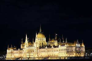 Обои Венгрия Будапешт Здания Дизайна Ночные Hungarian Parliament