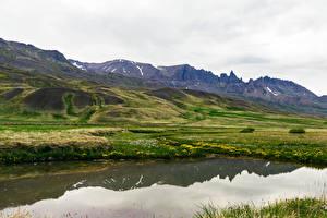 Фотография Исландия Горы Озеро Холмы Мох Snaefellsnesog Hnappadalssysla Природа