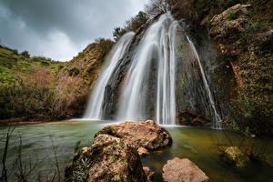 Обои для рабочего стола Израиль Водопады Камни Скала Northern Природа