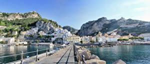Обои Италия Камни Побережье Мосты Амальфи Salerno город