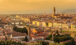 Фотографии Италия Тоскана Здания Речка Мост San Niccolo Florence город